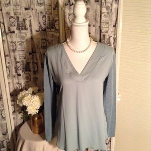 Loft Outlet Grey Blue Long Sleeve Blouse